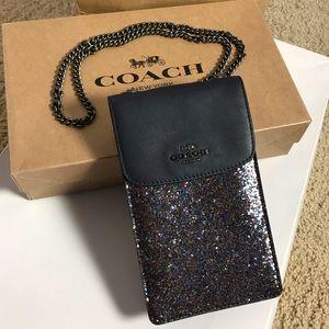 NWOT Coach Glitter Phone Black Leather Crossbody